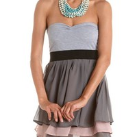 Tiered Chiffon 2-Fer Tube Dress: Charlotte Russe