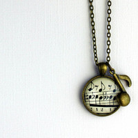 Sheet music necklace with music note charm  Copper by GildedNotes