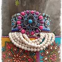 Indie FLOWER cuff BRACELET set tribal Friendship bracelet PINK Blue statement bracelet beaded cuff yoga Gypsy Hippie Ethnic bracleet