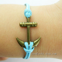 Unisex simple fashion Bracelet --- antique bronze anchor bracelet with blue wax rope