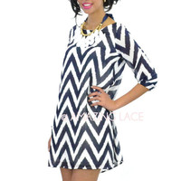 Serena Sunset Navy & Ivory Chevron Sleeve Dress