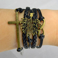 Antique Bronze  infinite big tree and cross boy and  girl Bracelet, Friendship Gift-Personalized Bracelet,Charm bracelet