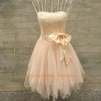Charming A-line Sweetheart Mini Bowknot Prom Dress