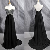 Charming Sweetheart Chiffon Beaded Beading Crystals Prom Dress