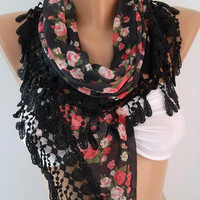 Georgeus  Scarf   Elegance  Scarf    Feminine   Black  Pink flowered