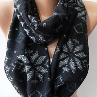 infinity Scarf-- Loop Scarf--  Circle Scarf -- gray/black