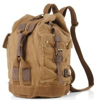 BROWN Canvas Military Style Backpack School Bag Camping Bag Large Size Classic Look: Everything Else