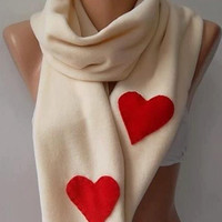 LOVE - Super elegant scarf /shawl long scarf...Beige - red heart...