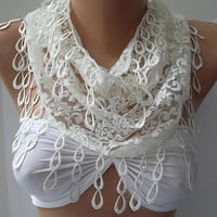 Lace scarf...Pearl Color