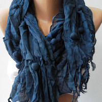 Elegant Scarf  Dark Blue  Cotton Scarf