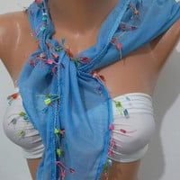 Elegant  scarf -- cotton scarf -- Blue