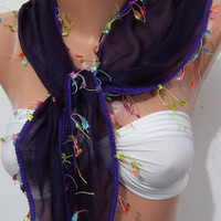 Christmas gift idea - Elegant  scarf cotton scarf  purple ...Bandana