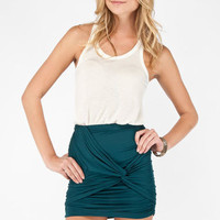 Knot Taken Skirt in Deep Teal :: tobi