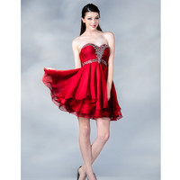 2013 Prom Dresses - Red Chiffon Sweetheart Short Prom Dress - Unique Vintage - Prom dresses, retro dresses, retro swimsuits.