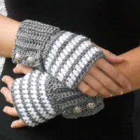 Grey and white stripe button crochet wrist warmers, arm warmers, fingerless gloves mittens