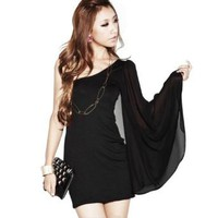 Amazon.com: Zehui New Fashion Black Women's Sexy Single Naked Shoulder Bell Sleeve Evenning Party US6/UK8/EU36 Length:76cm Bust:35cm: Clothing