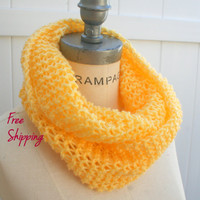 Knit Scarf Yellow Tube Scarf FREE SHIPPING  Neckwarmer - By PIYOYO