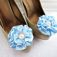 Light Blue Shoe Clips, Wedding, Bridesmaid Party Flower Clips for Shoes by Flower Coutue