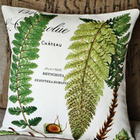 Burlap and Cotton Pillow Cover Green Fern Botanical Pillow