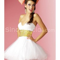 Lovely Ball Gown Sweetheart Neckline Sash Mini Tulle Cocktail Dress-SinoSpecial.com