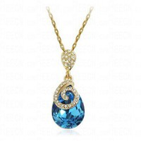 Blue Teardrop Swarovski Crystal Pendant Gilded Link Chain Necklace