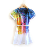 "The Original ""Splash Dyed"" Hand PAINTED Scoop Neck Pinned Rolled Cuffs Tunic Tee Dress in White Spectrum Rainbow - XS S M L XL"