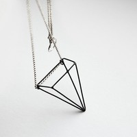 Pyramid Illusion . sterling silver necklace with oxidized pendant
