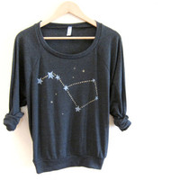Big Dipper HAND STENCILED Slouchy Eco Heather Deep Scoop Neck Lightweight Sweatshirt in Heather Black and Gold - S M L XL