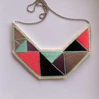 Embroidered statement necklace in mint green purple black gray and pink