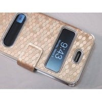 Gold Silver Luxury Luxurious Synthetic Leather Magnetic Flip Case Cover Protector Skin for iPhone 4 4G 4S: Cell Phones & Accessories