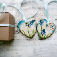 Set of 2 spring heart ornaments blue flowers green white home decor kitchen decor rustic shabby chic cottage chic