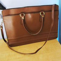 vintage leather briefcase. leather messenger. leather portfolio. laptop case.