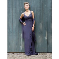 Modern A-line sleeveless chiffon bridesmaid gown