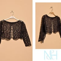 Vintage 1920s Black Sheer Lace Bolero with Open Front