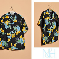 Vintage 1960s Black Hawaiian Button-Up with Single Chest Pocket