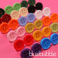 ♥ FUNKY BUTTON EARRINGS CUTE KITSCH RETRO KAWAII POP SEWING EMO SWEET VINTAGE ♥