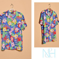 Vintage 1980s Hawaiian Print Button-Up with Single Chest Pocket