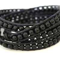 Mens or Womens Black Onyx 3-4X Beaded Leather Wrap Bracelet Extra Long