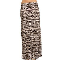 Tan/Black Tribal Maxi Skirt