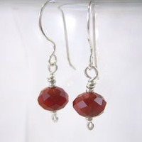 Red Faceted Glass Bead Argentium Silver Earrings