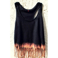 Bleached fringe vest