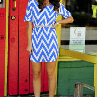 Sweet As Candy Chevron Dress: Powder Blue | Hope&#x27;s