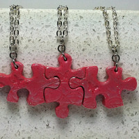 Puzzle Necklace Set of 3 interlocking necklaces Polymer Clay Jewelry Set 177