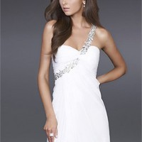 A-line One-shoulder Asymmetric High Slit Drape Open Back White Prom Dress PD1550