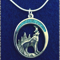 HOWLING WOLF Twilight Moon Silver Plated Necklace TURQUOISE Pewter Jewelry