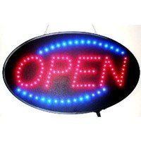 Open LED Sign With Animation and Power (On & off) two Switchs for Business (Red & Blue Neon Lights) - Amazon.com