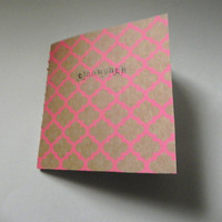 "moleskine-style notebook - ""thoughts"" - bright pink repeating pattern // handmade/stitched"