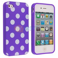 Polka Dot Purple White TPU Rubber Skin Case Cover for Apple iPhone 4 4S 4G