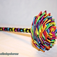 Rainbow Hearts Duct Tape Flower Pen by AudballsClayCharms on Etsy