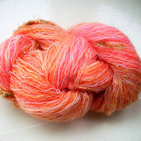 Hand painted novelty yarn 50g  apricot tangerine
